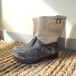 Frye two tone leather motorcycle boot